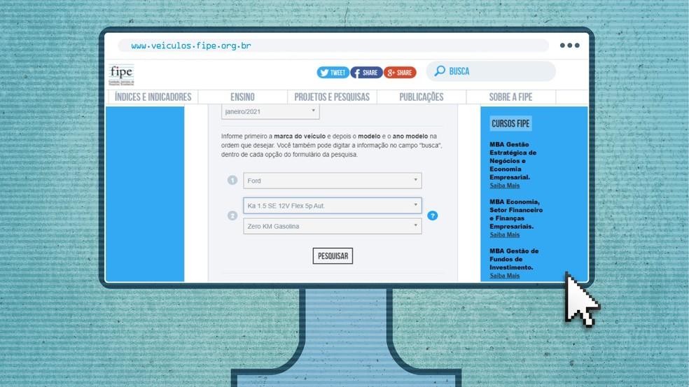 Tabela Fipe: para acessar a lista, basta entrar em um desses endereços: www.fipe.org.br ou veiculos.fipe.org.br — Foto: Autoesporte