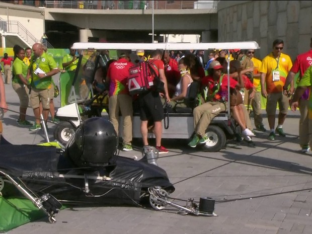 Câmera despenca no Parque Olímpico (Foto: Reprodução/TV Globo)