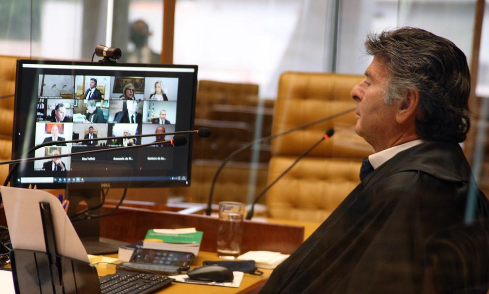 Ministro Luiz Fux preside sessão plenária do STF em 17 de março — Foto: Nelson Jr./SCO/STF