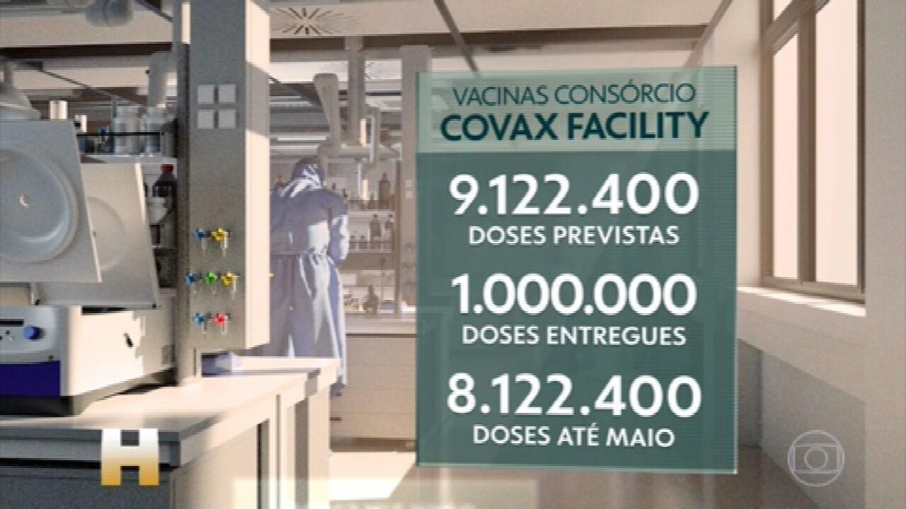 Consórcio Covax Facility: OMS prevê 842 mil doses extras de vacina contra a Covid para o Brasil