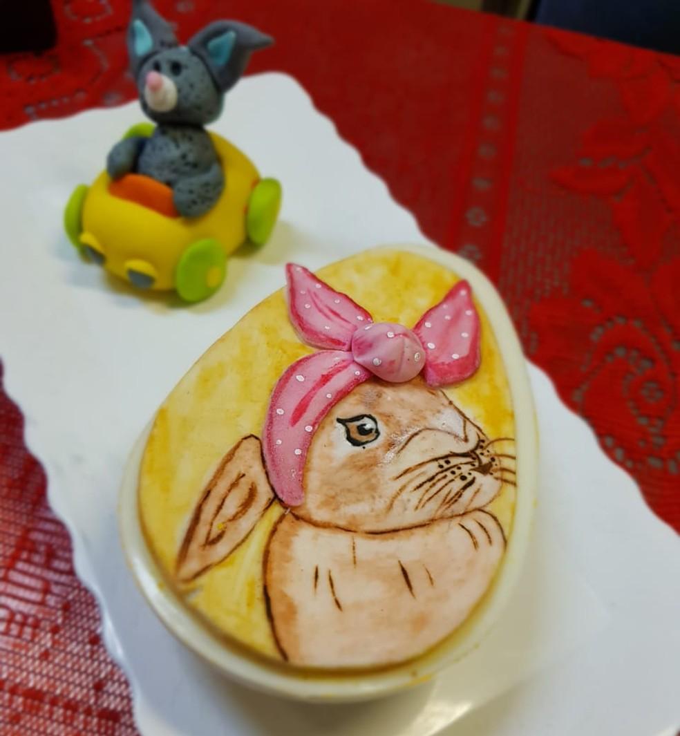 Ovos com desenhos — Foto: Carla Patrícia Braga Silva Souza/ Arquivo pessoal