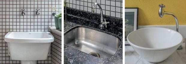 Da esq. para a dir., detalhes da área de serviço, da cozinha e do banheiro do casal. Esses são alguns dos ambientes que receberão produtos Deca (Foto: Divulgação Deca)
