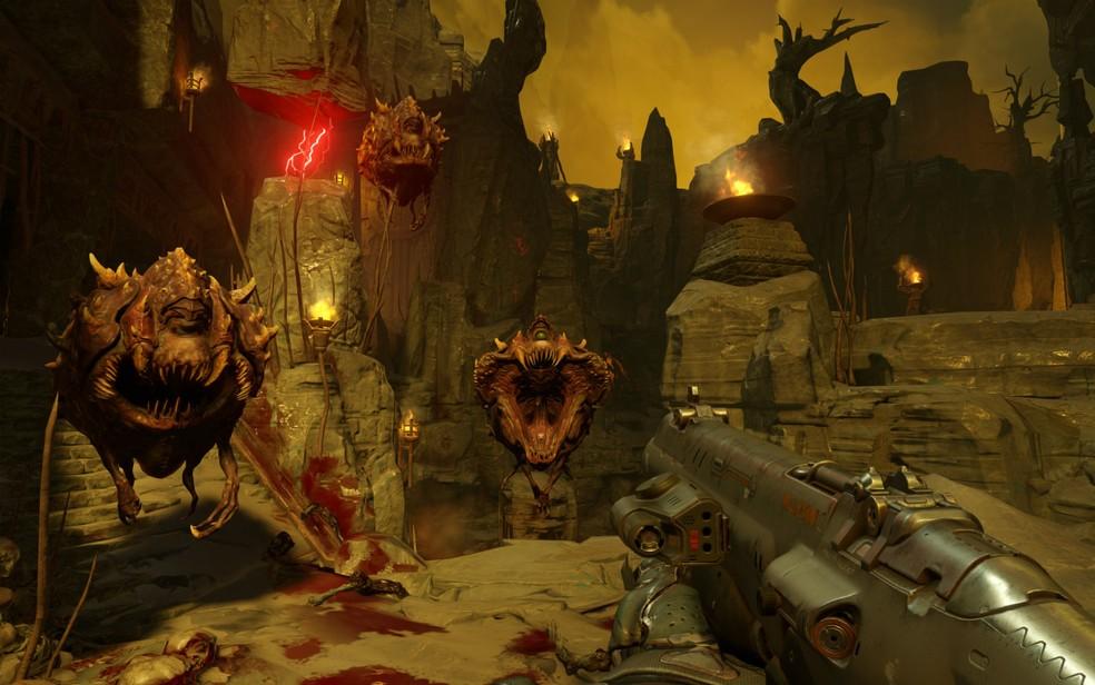 Novo 'Doom' tem monstros horripilantes, mas armas ainda mais cabulosas para dar conta do recado (Foto: Divulgação/Bethesda)