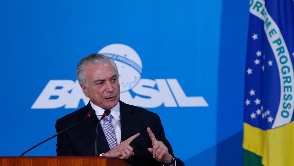 O presidente Michel Temer discursa a empresários em defesa da reforma da Previdência (Foto: Alan Santos/Presidência da República)