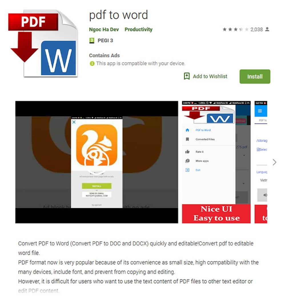 Aplicativo de Android que convertia arquivos PDF deixou