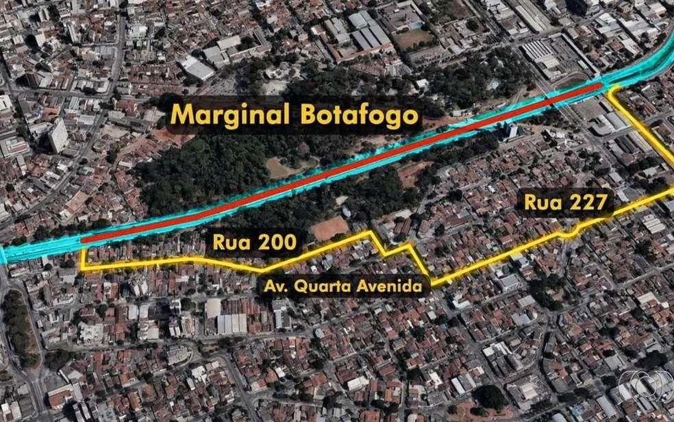 Com 15 pontos críticos, Marginal Botafogo tem trecho totalmente interditado em Goiânia (Foto: TV Anhanguera/Reprodução)