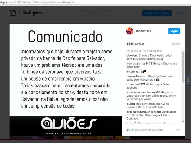 Banda Aviões do Forró fez postagem anunciando cancelamento de show no carnaval de Salvador (Foto: Reprodução/Instagram)