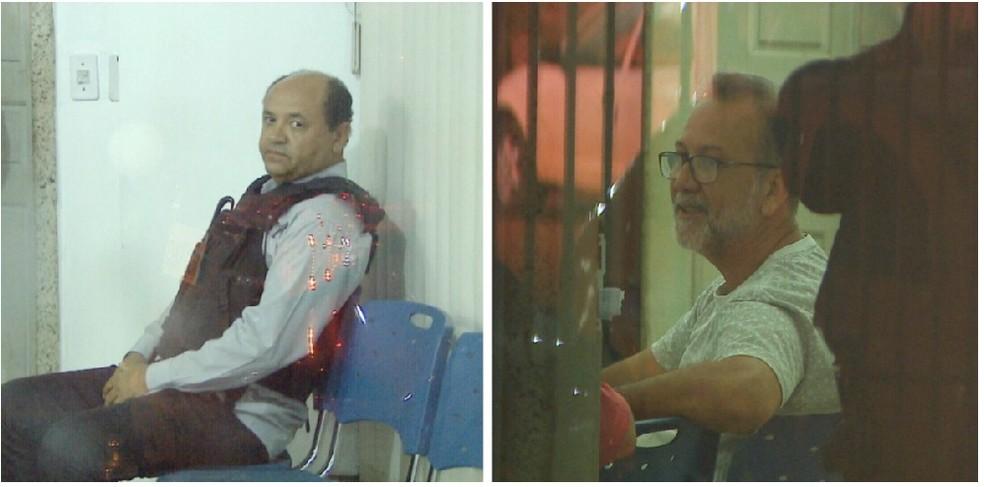 Hamilton Santiago (de colete a prova de balas) e Osvaldo Pittaluga, secretário e adjunto da Sedam, respectivamente, foram presos durante a Operação Pau Oco. — Foto: Reprodução/Rede Amazônica