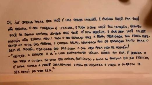 Covid-19: Crianças de SC escrevem cartas de agradecimento a profissionais de saúde que trabalham na linha de frente