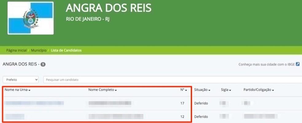 Dados de candidatos para o cargo de prefeito de uma cidade brasileira — Foto: Reprodução/Marvin Costa