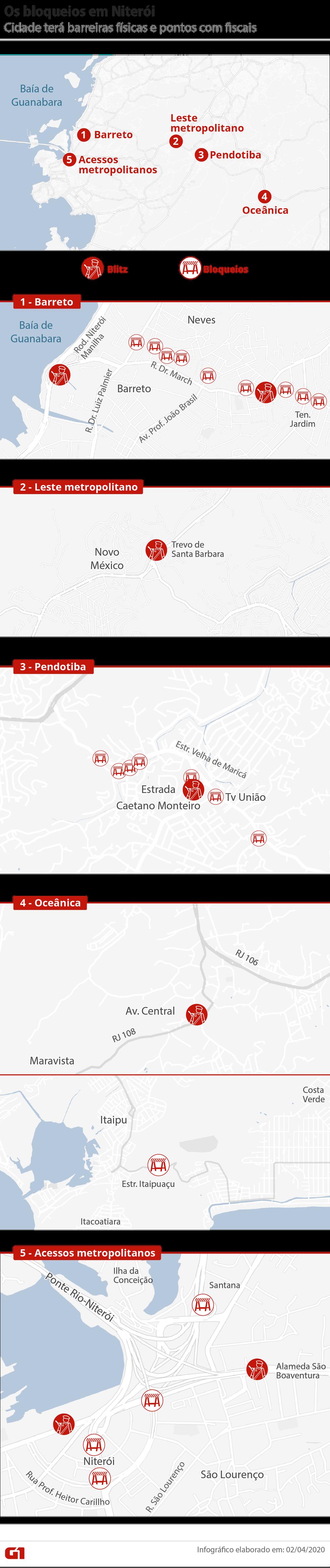 Mapa mostra os bloqueios em Niterói — Foto: Infografia: Wagner Magalhães/G1