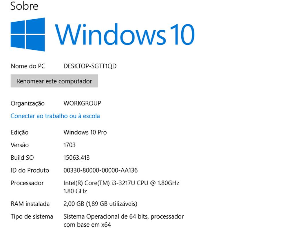 Visualizando as informações do Windows — Foto: Edivaldo Brito/TechTudo