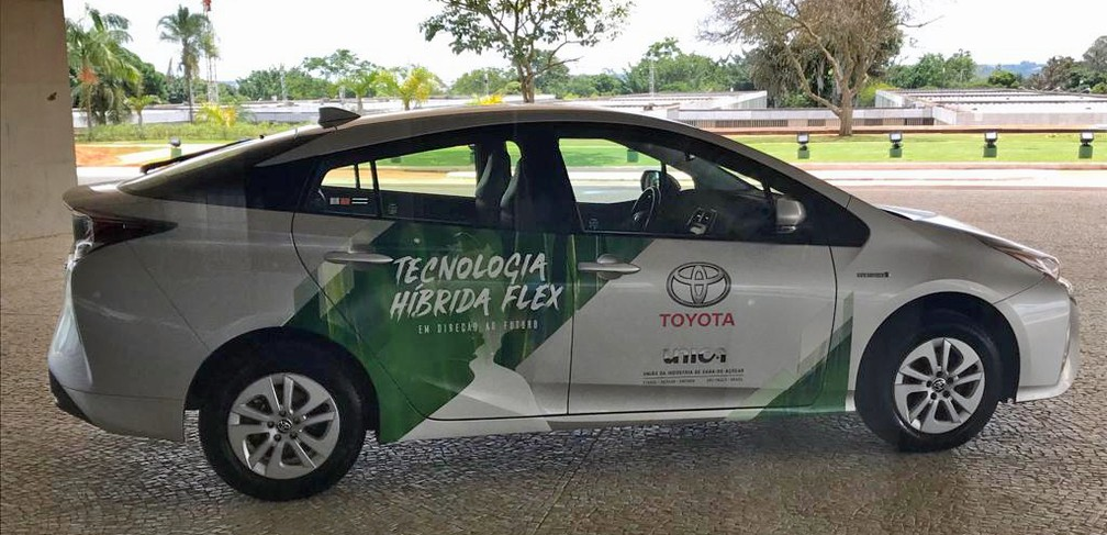 Protótipo do carro híbrido testado pela Toyota no Palácio do Planalto — Foto: Luiz Felipe Barbiéri / G1