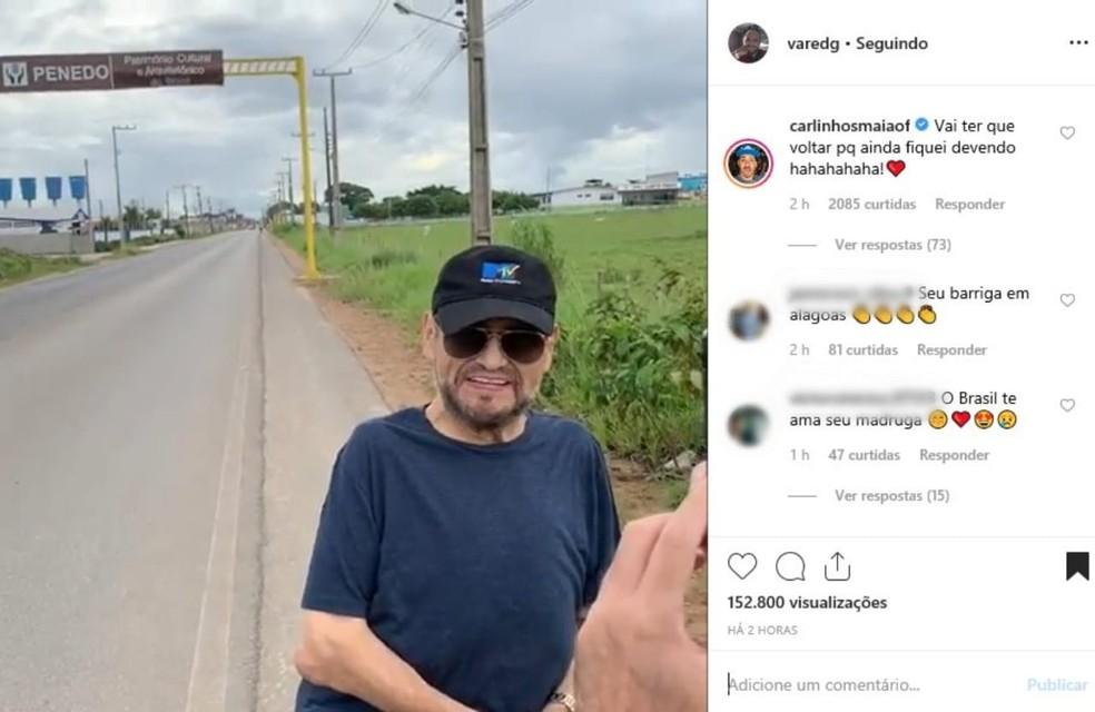 Edgar Vivar, o 'Senhor Barriga' faz visita surpresa a vila de Carlinhos Maia em Penedo, AL — Foto: Reprodução/Instagram