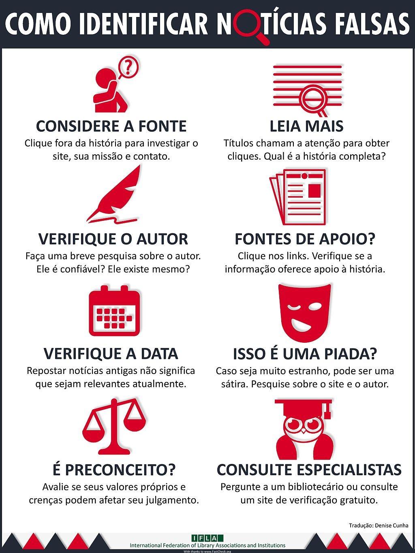 Dicas da Federação Internacional de Associações e Instituições Bibliotecárias (IFLA) para identificar fake news. (Foto: IFLA)