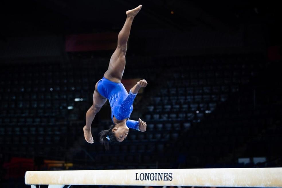 Simone Biles está sobrando no Mundial de Stuttgart — Foto: John Cheng / USA Gymnastics