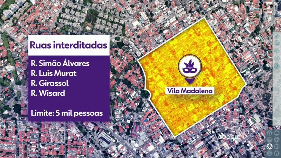 Restrições na Vila Madalena para o carnaval 2019 em São Paulo — Foto: Reprodução/TV Globo