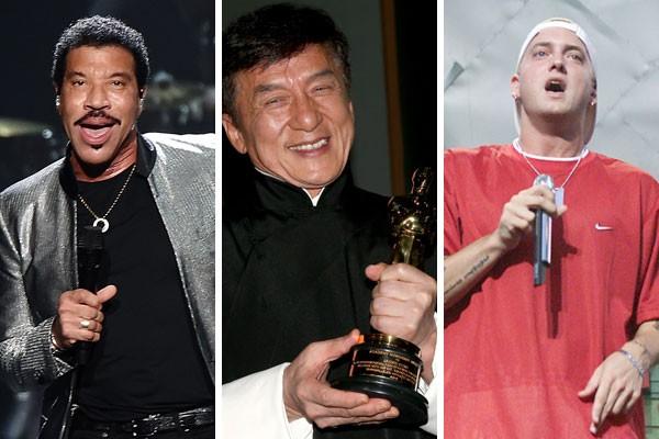 Lionel Richie, Jackie Chan e Eminem já foram agraciados com um Oscar - e você nem sabia disso, sabia? (Foto: Getty Images)
