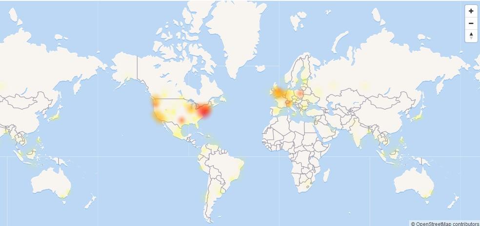 Mapa mostra volume de reclamações relacionadas ao Facebook por volta das 12h desta quinta (11) (Foto: Reprodução/Down Detector)
