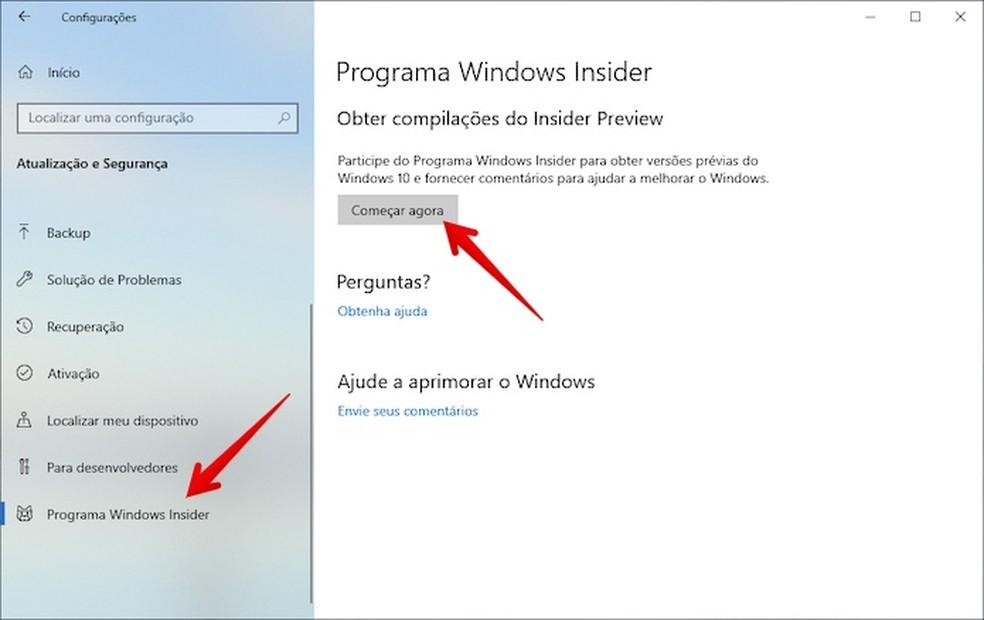 Acesse as configurações do Windows Insider — Foto: Reprodução/Helito Beggiora