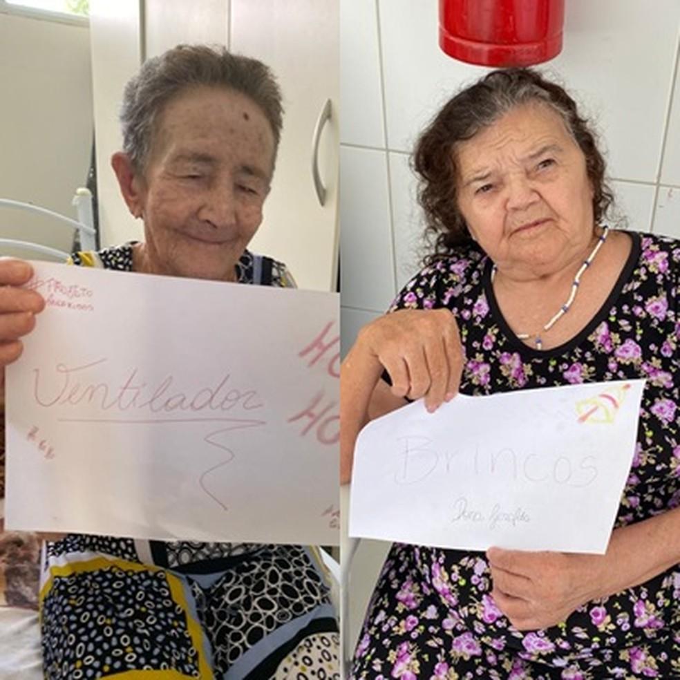 Entre os presentes pedidos pelos idosos também há brincos e ventilador, na PB — Foto: Projeto AndaRisos/Divulgação