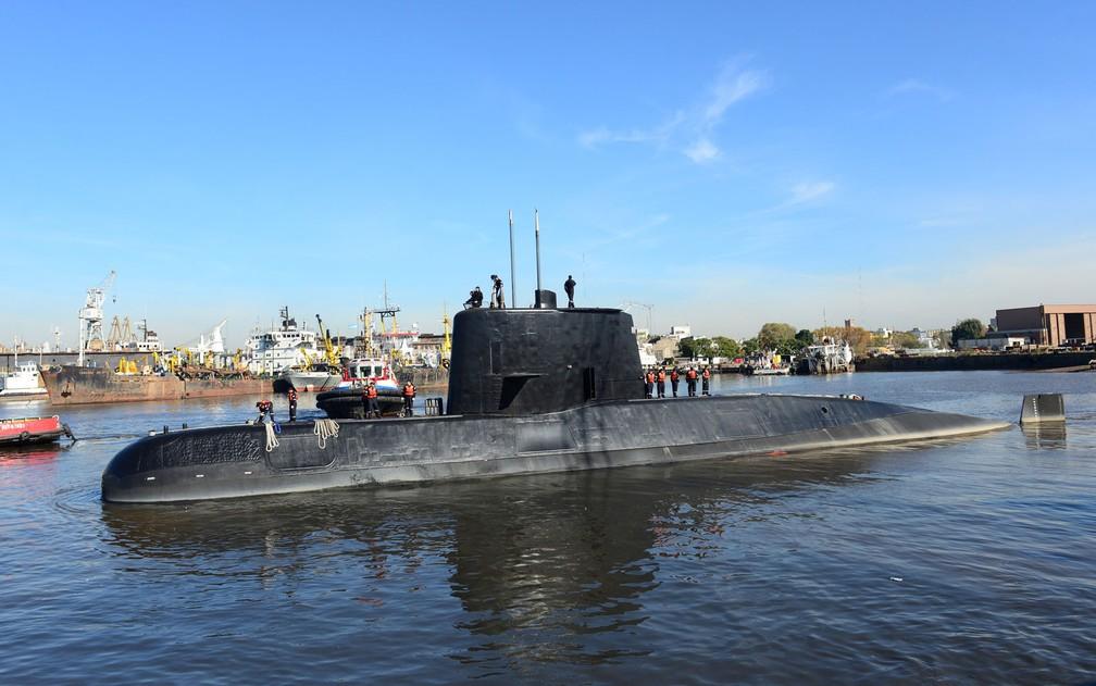 Foto de arquivo, feita em 2014, mostra o submarino ARA San Juan em Buenos Aires — Foto: Argentine Navy/Handout via Reuters