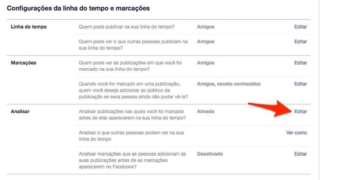 Ação para editar configurações de marcação em posts em uma conta do Facebook (Foto: Reprodução/Marvin Costa)