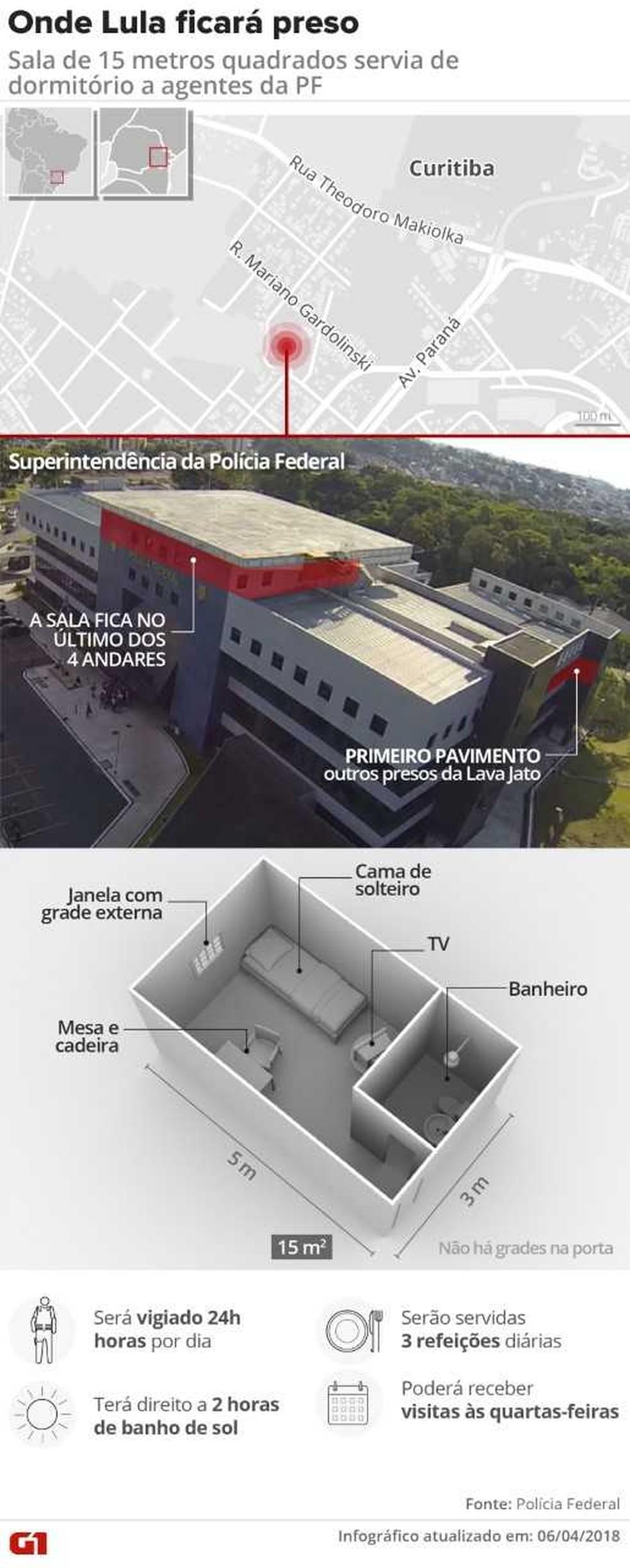 Na sala especial de Lula tem uma cama de solteiro, mesa, cadeira e televisão. (Foto:  Igor Estrella)