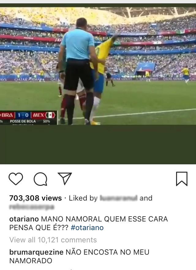 Bruna Marquezine comentou vídeo em que mexicano puxa Neymar  (Foto: Reprodução / Instagram)