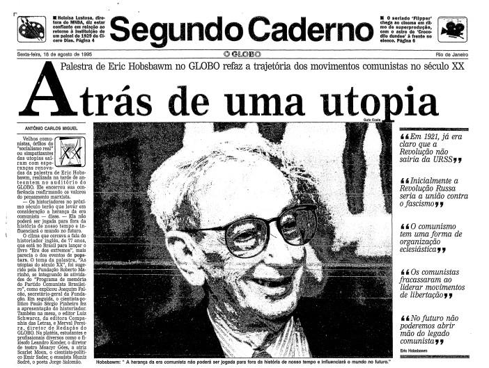 Página do GLOBO de 18 de agosto de 1995