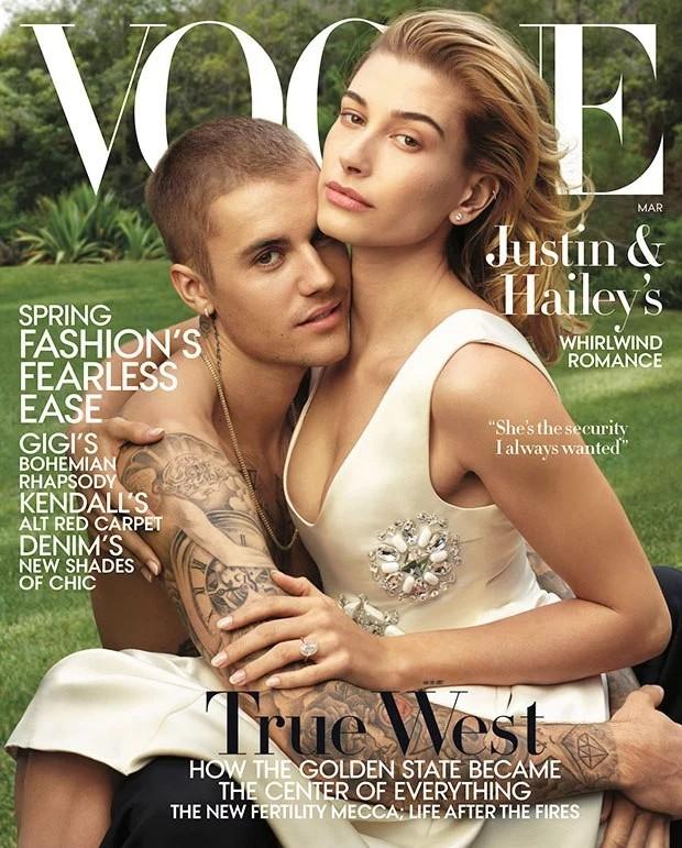 Hailey Baldwin e Justin Bieber são capa da mais recente edição da Vogue Internacional (Foto: Annie Leibovitz / Vogue)