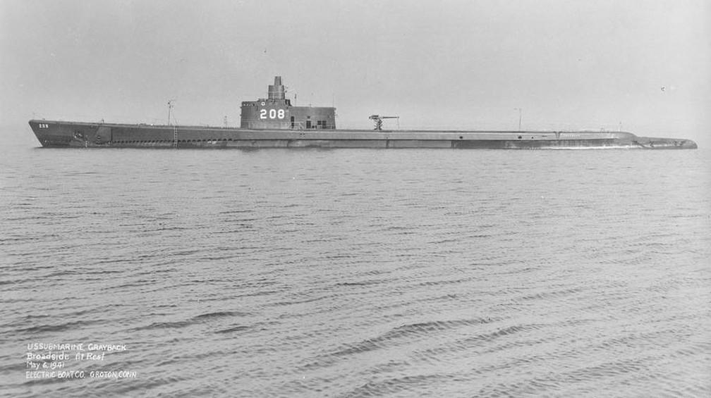 Submarino USS Grayback, aqui em foto de 1941, afundou com uma tripulação de 80 membros — Foto: Domínio público