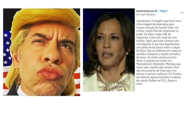 Leandro Hassum, que dias atrás havia feito uma sátira vestido de Donald Trump, comemorou a vitória de Biden e publicou um texto sobre Kamala Harris (Foto: Reprodução/Instagram)