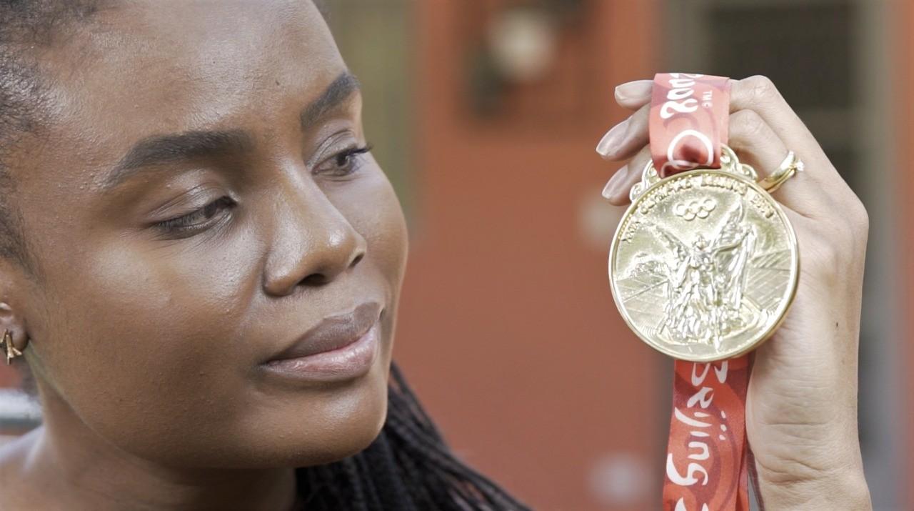 Fabiana e a sua medalha de ouro
