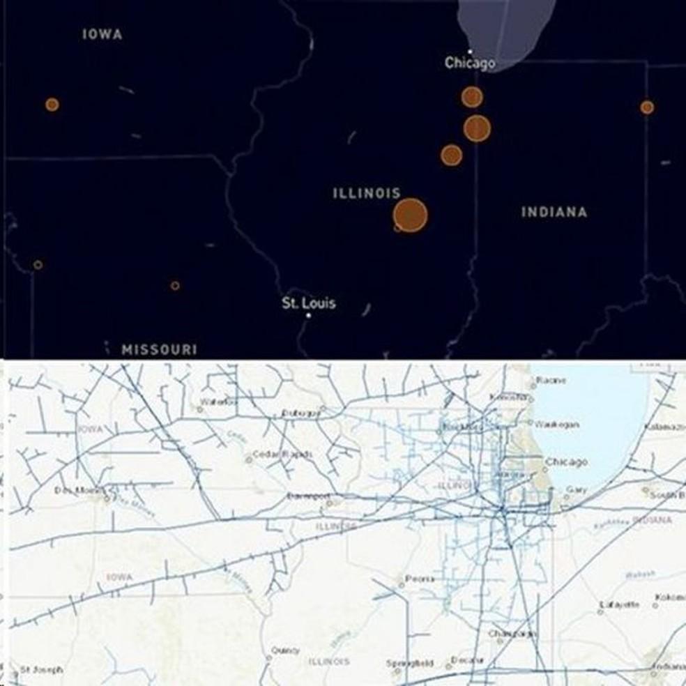 Regiões que não produzem petróleo ou gás também possuem grandes concentrações de metano, potencialmente devido à manutenção das tubulações — Foto: CRÉDITO: COPERNICUS/KAYRROS/US EIA