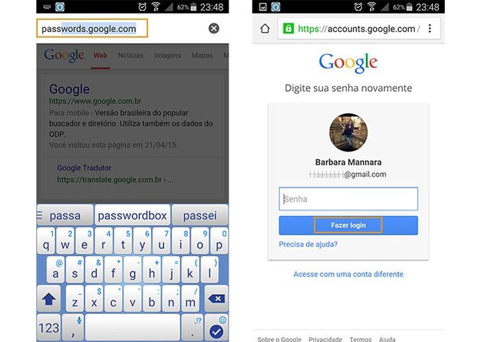 Acesse o site de senhas do Google e faça o login na sua conta (Foto: Reprodução/Barbara Mannara)