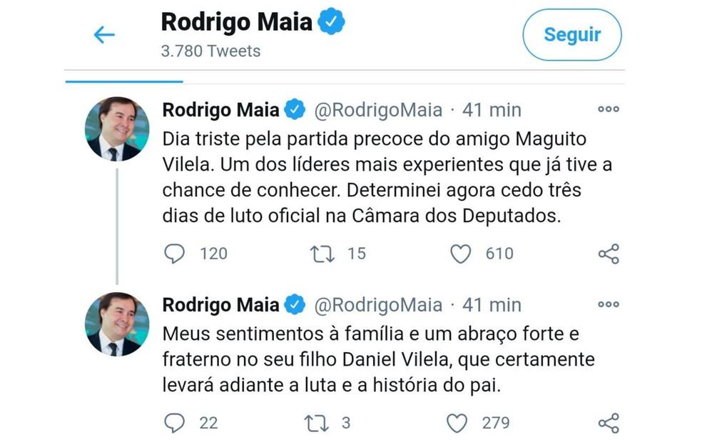 Rodrigo Maia decreta luto de três dias na Câmara dos Deputados pela morte de Maguito Vilela — Foto: Reprodução/Twitter