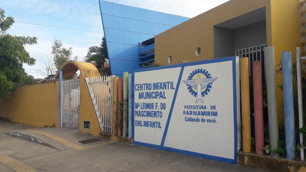 Centro infantil municipal Maria Leonor Freitas do Nascimento, em Parnamirim RN — Foto: Julianne Barreto/Inter TV Cabugi