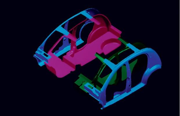 Os quatro grandes segmentos da carroceria do Chrysler CCV, manufaturados com o material das garrafas PET, seriam montados sobre um chassi tubular com a fixação de apenas quatro parafusos (Foto: Divulgação)