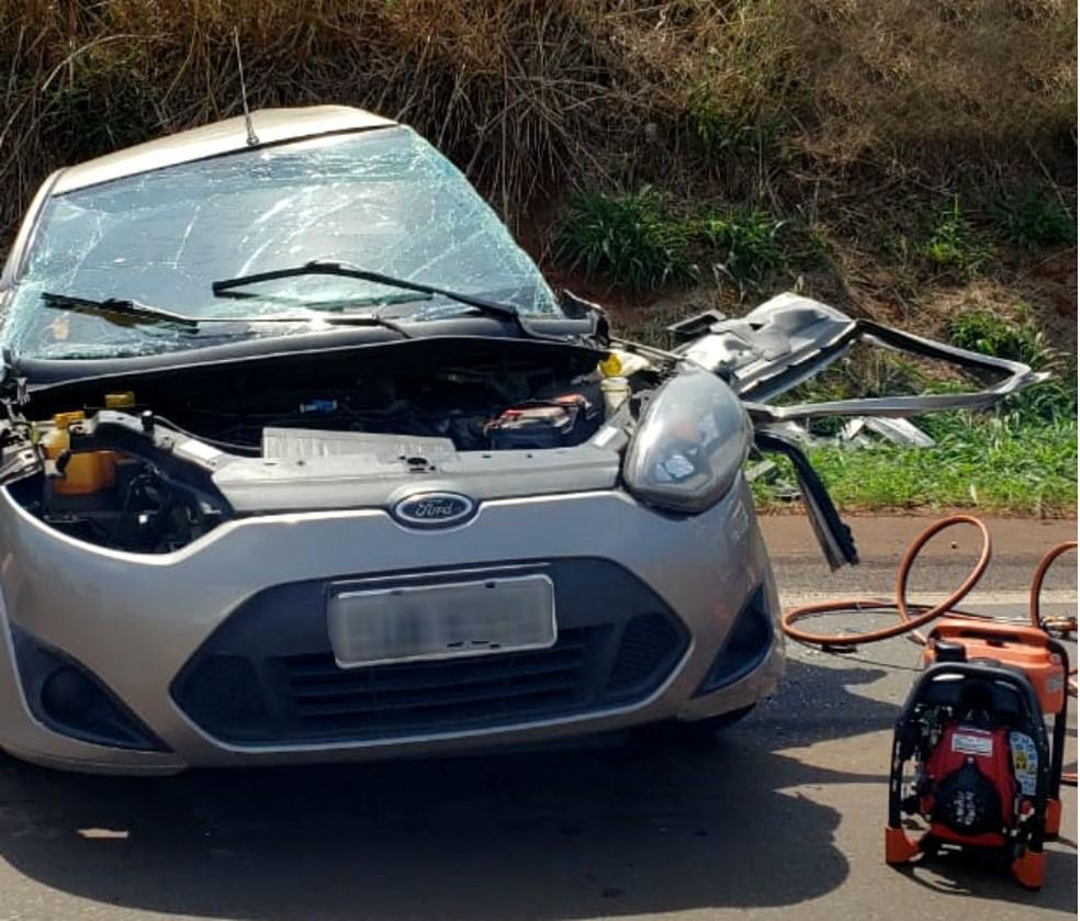 As duas vítimas do acidente estavam no carro — Foto: TV TEM/Reprodução