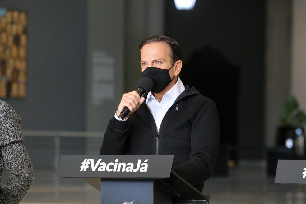 Governador João Doria (PSDB) em coletiva de imprensa na última quarta-feira (23) — Foto: Governo do Estado de São Paulo/Divulgação