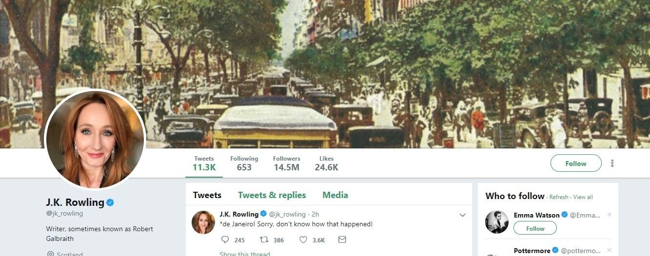 J.K. Rowling coloca foto do Rio de Janeiro em sua capa do Twitter (Foto: Reprodução / Twitter)