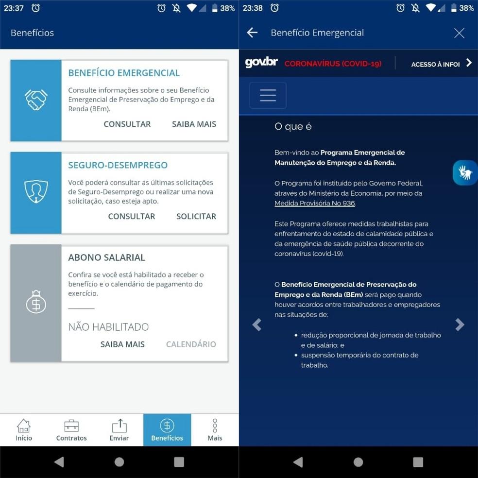 App permite detalhar Benefício Emergencial (BEm) — Foto: Reprodução/CTPS Digital