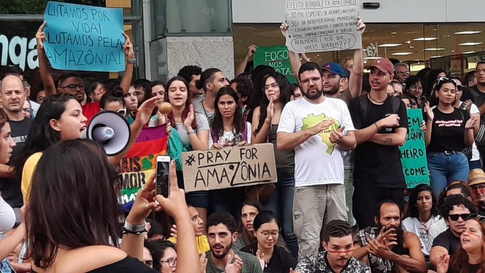 Manifestantes protestam em defesa da Amazônia em Natal — Foto: Sérgio Henrique Santos/Inter TV Cabugi
