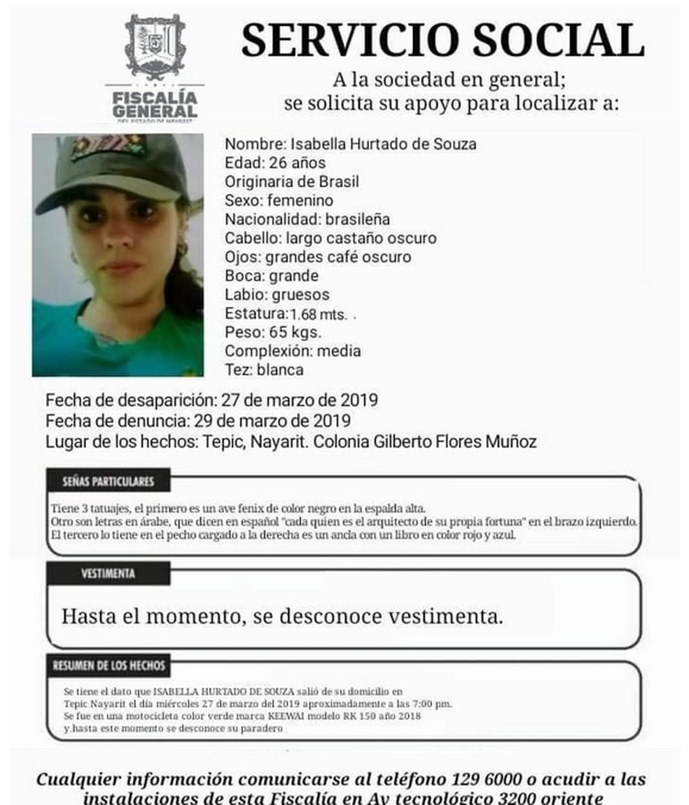 Isabella desapareceu no dia 27 de março, em Tepic — Foto: Reprodução/internet