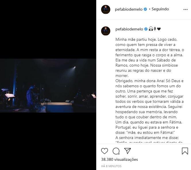Padre Fabio de Melo lamenta a morte da mãe, Ana Maria (Foto: Reprodução / Instagram)