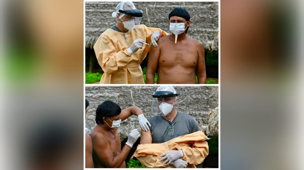 Médico santareno é vacinado contra Covid-19 por indígena Zo'é: 'por mãos que cuidam de gente, de bicho, de mato e espírito'