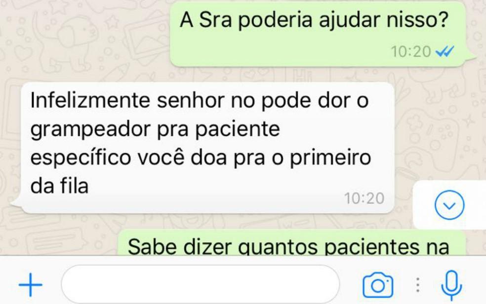 Mensagens trocadas entre doadora do Rio de Janeiro e gerente de medicina cirúrgica do Hmib do Hospital de Base, Márcia Amorim (Foto: Reprodução)
