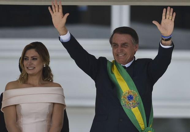 Michele e Jair Bolsonaro durante cerimônia de posse, em Brasília (Foto: Marcelo Camargo/Agência Brasil)