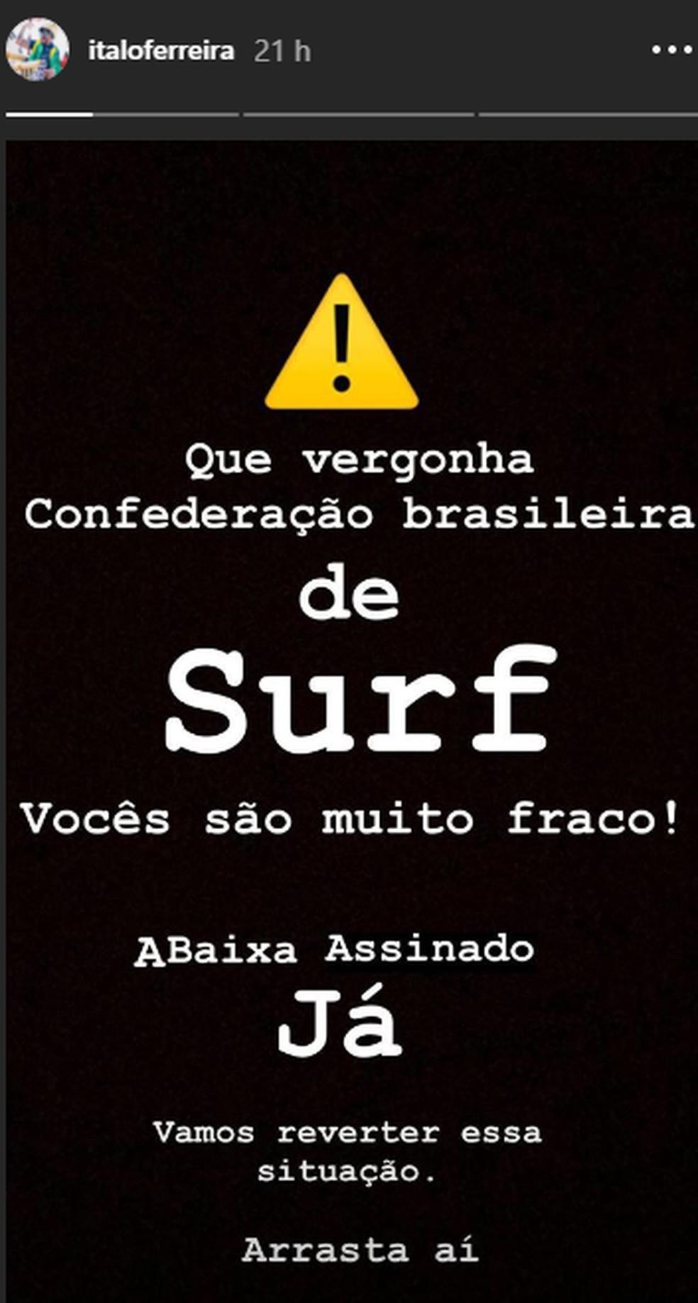 Italo Ferreira apoia abaixo assinado contra atual gestão da CBSurf — Foto: Reprodução Instagram
